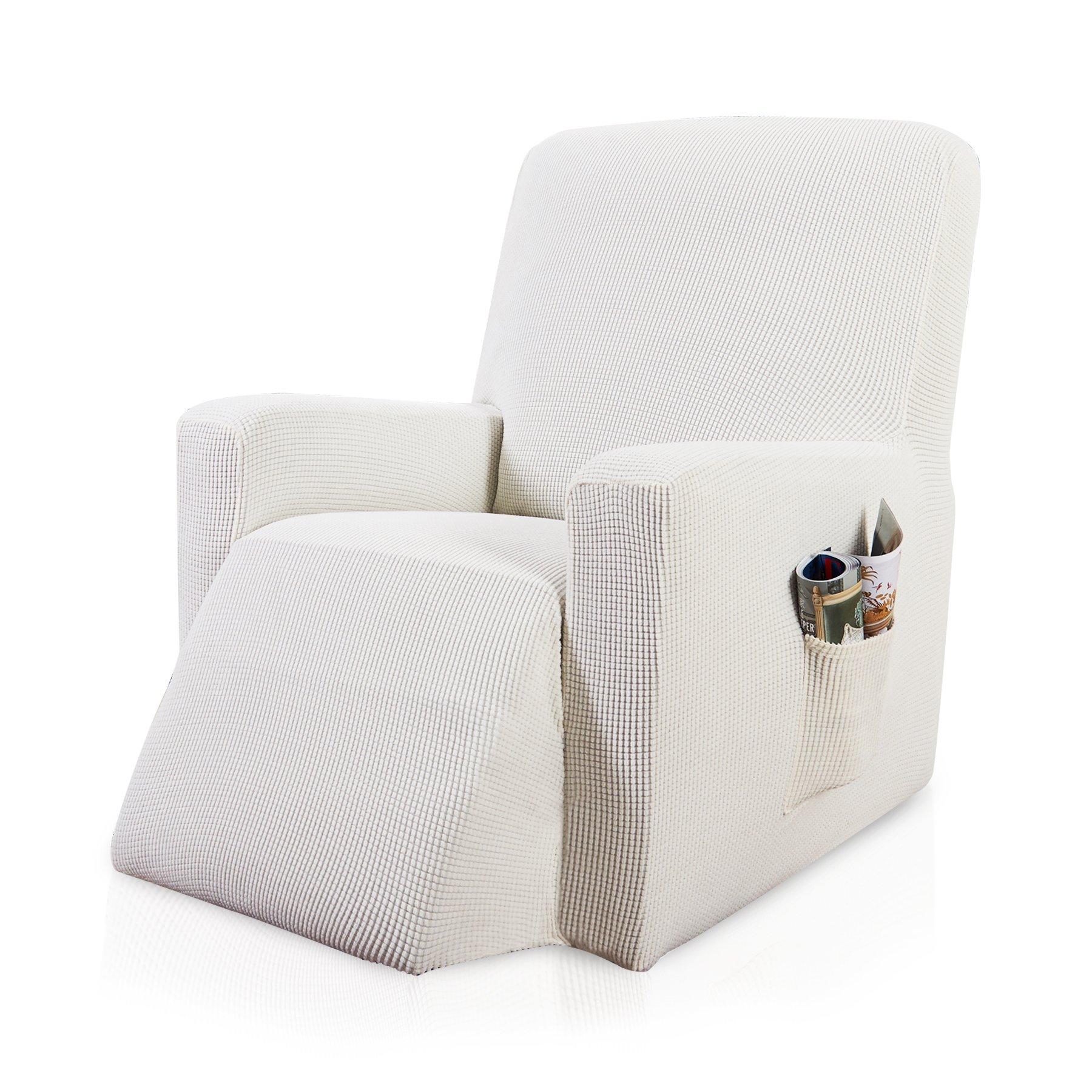 Subrtex 1-Piece Spandex Stretch Sofa Slipcover (Recliner, Off-White)