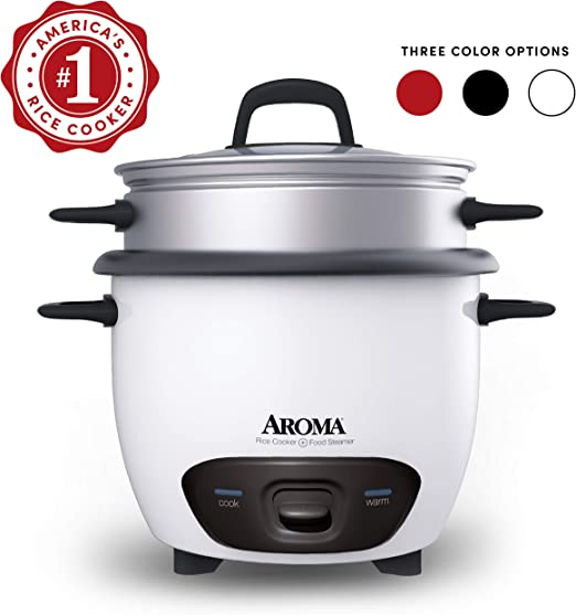 Aroma Housewares 6-Cup 3-Cup UNCOOKED Cooked ARC-743G Pot-Style Rice Cooker