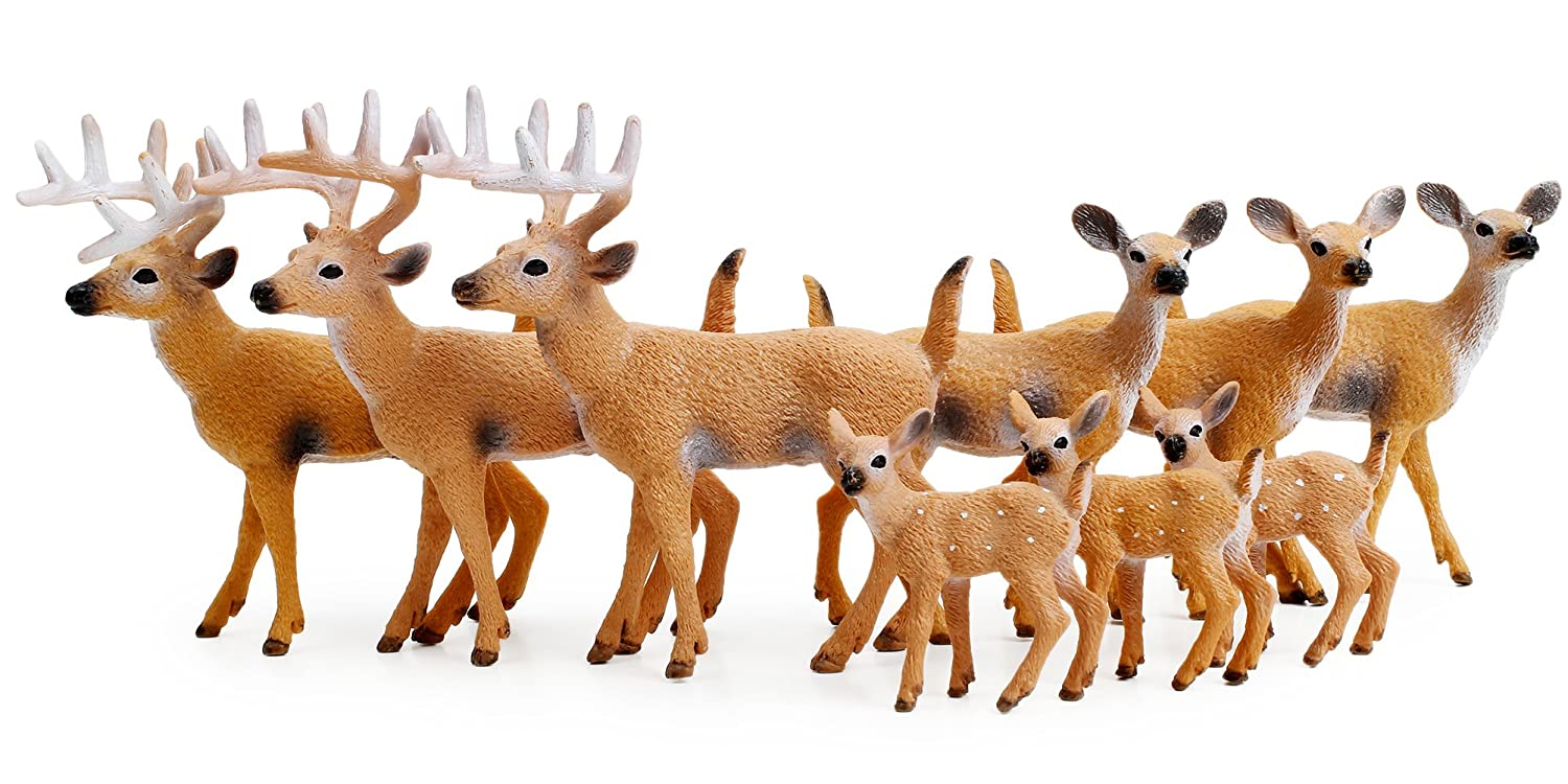 Deer Figurines Cake Toppers Toys Figure SMALL Woodland Animals Set Of 6