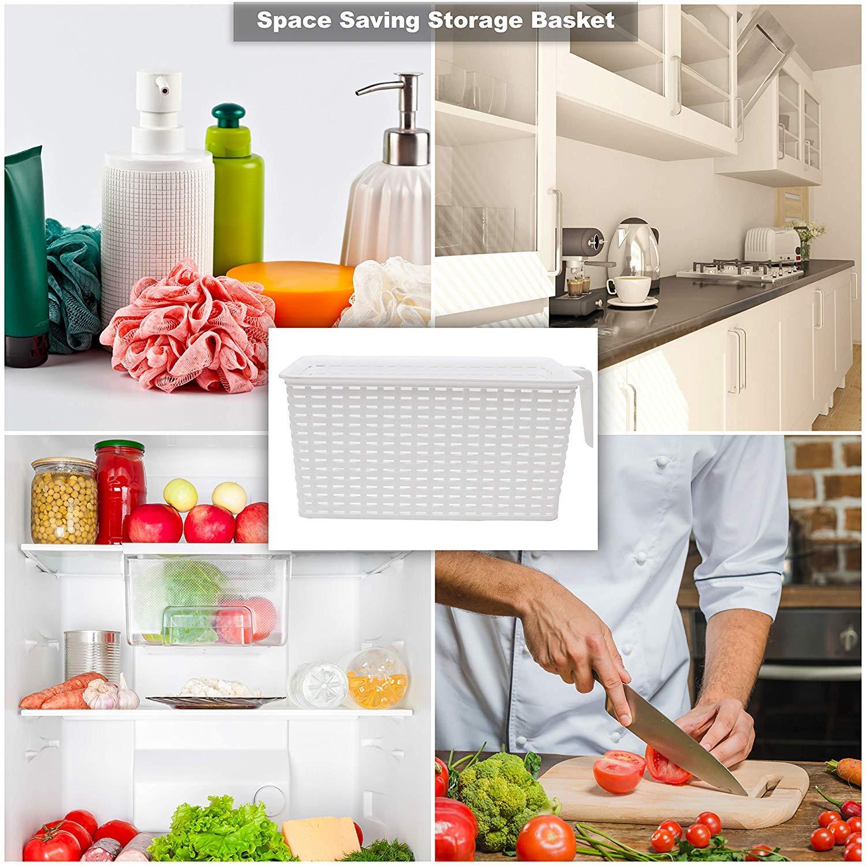 Frigorifero Cucina - Frigo Plastica Conservazione Cestini con Manico per Organizzazione Scaffali Credenza Confezione da 6 L 33 x W 19.5 x H 14.5 cm Bagno Frigorifero Conservazione Cestini