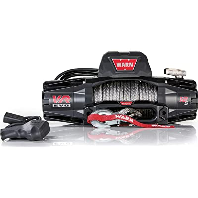 """WARN 103255 VR EVO 12-S Electric 12V DC Winch with Synthetic Rope: 3/8"""" Diameter x 90' Length, 6 Ton (12,000 lb) Pulling Capacity: Automotive"""
