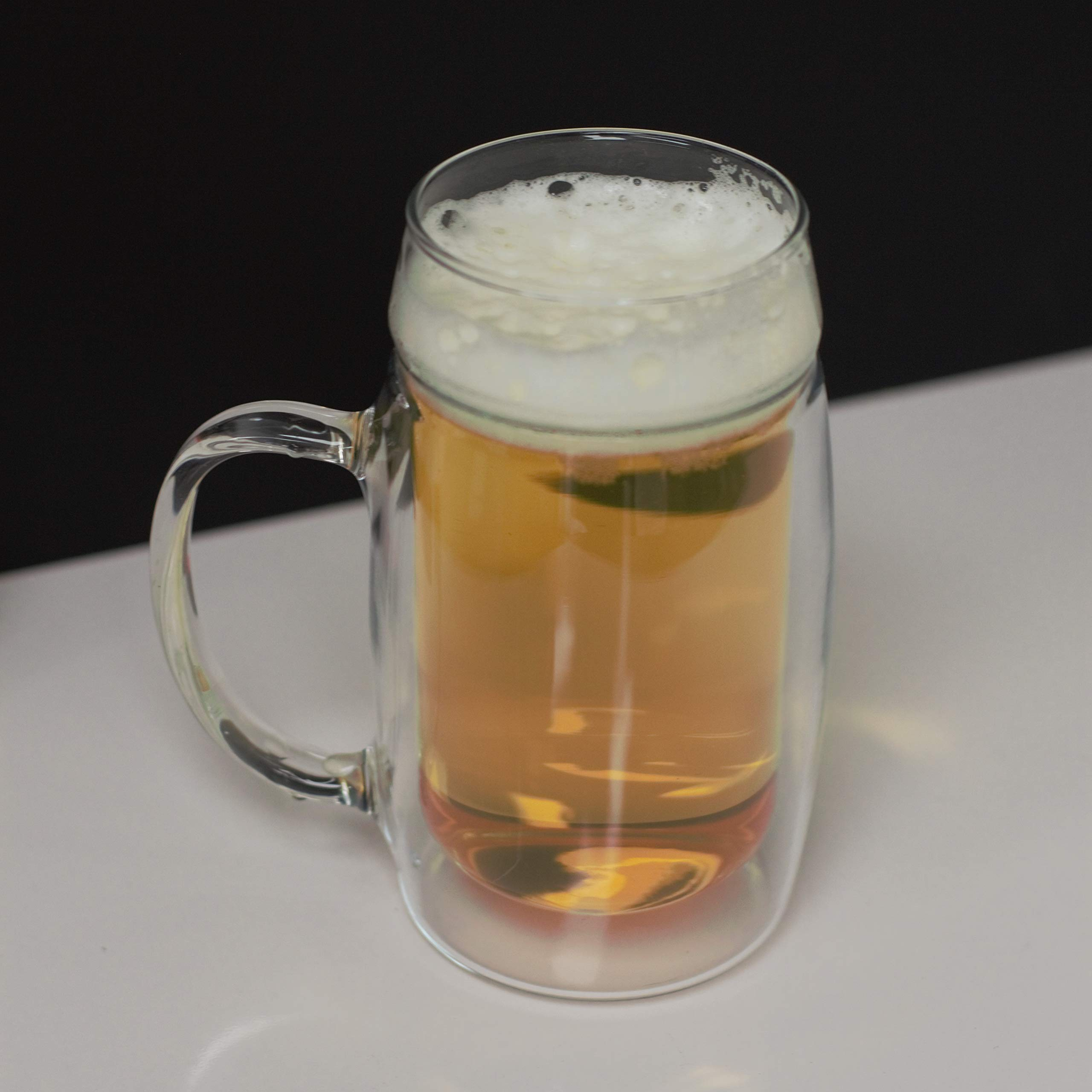 Simax Glassware Double Walled Insulated Glass Beer Mug   With Handle, Freezer, Microwave, Hot Water, and Dishwasher Safe Borosilicate Glass, 16.9 Ounce (4)