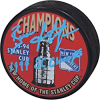 "$87 » Brian Leetch New York Rangers Autographed 1994 Stanley Cup Champions Logo Hockey Puck with""1994 SC Champs"" Inscription…"