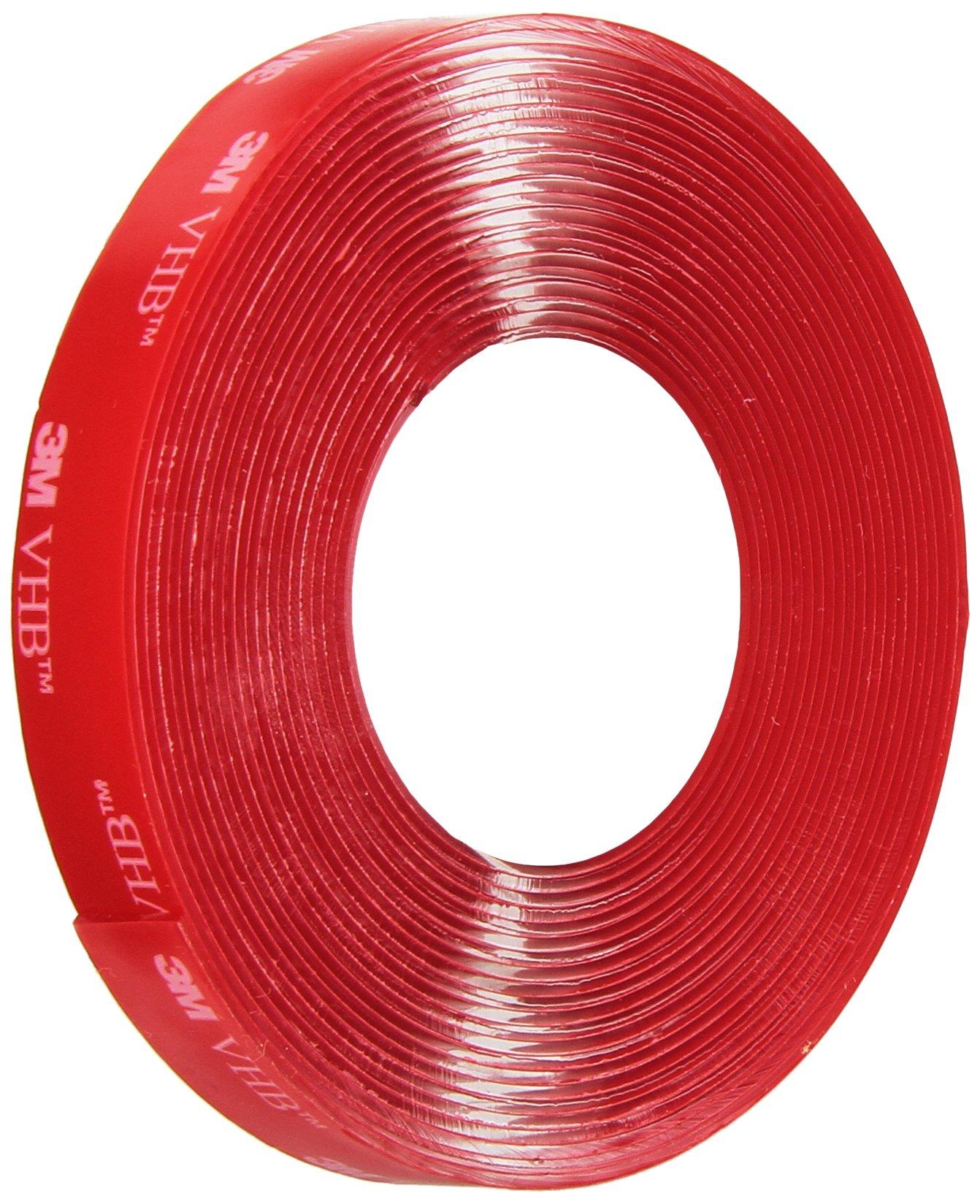 3M VHB Heavy Duty Mounting Tape 4910, Clear, 0.5 in width x 5 yd length (1 Roll)