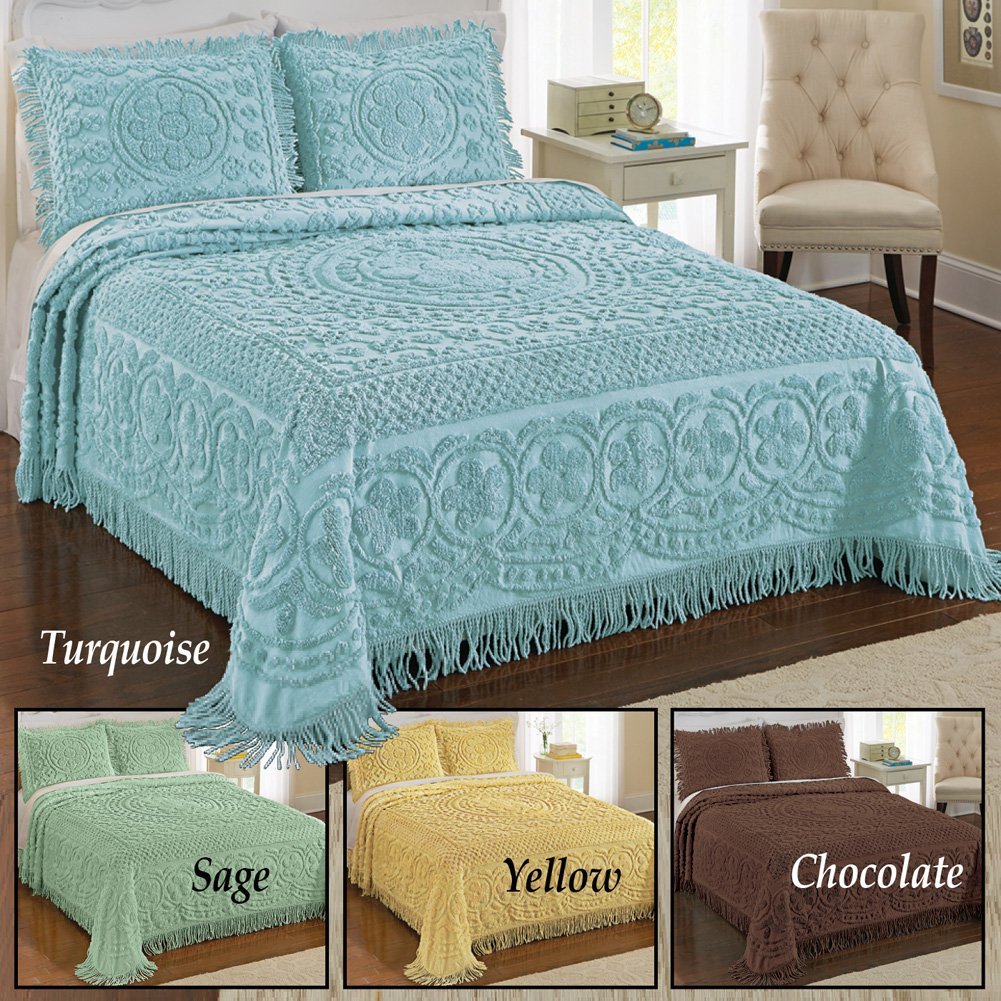Amazon.com: Calista Chenille Lightweight Bedspread with Fringe ...