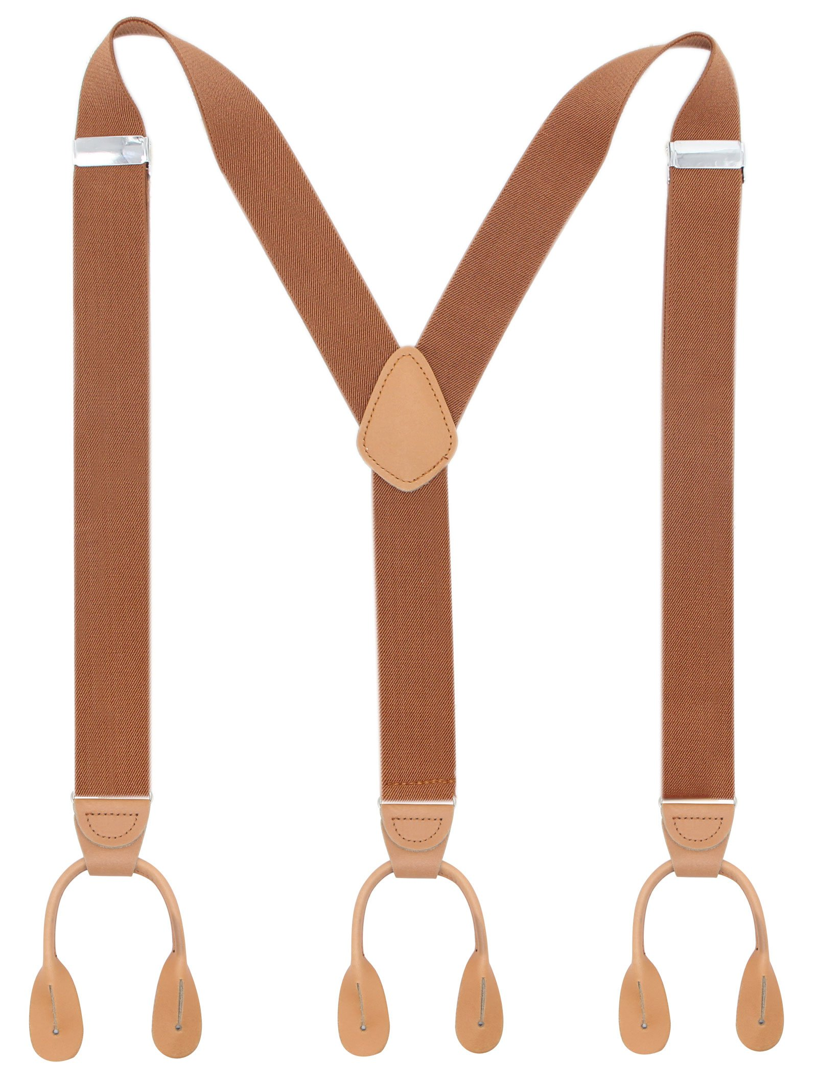 Bioterti Top Men's Genuine Leather Button Y-Style Tuxedo Suspenders In 9 Colors (Solid Camel)