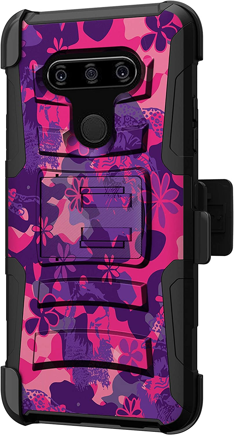 TurtleArmor | Compatible with LG V40 Case | LG V40 ThinQ Case [Hyper Shock] Hard Reinforced Rugged Impact Belt Clip Holster Kickstand Girls - Pink Purple Flowers