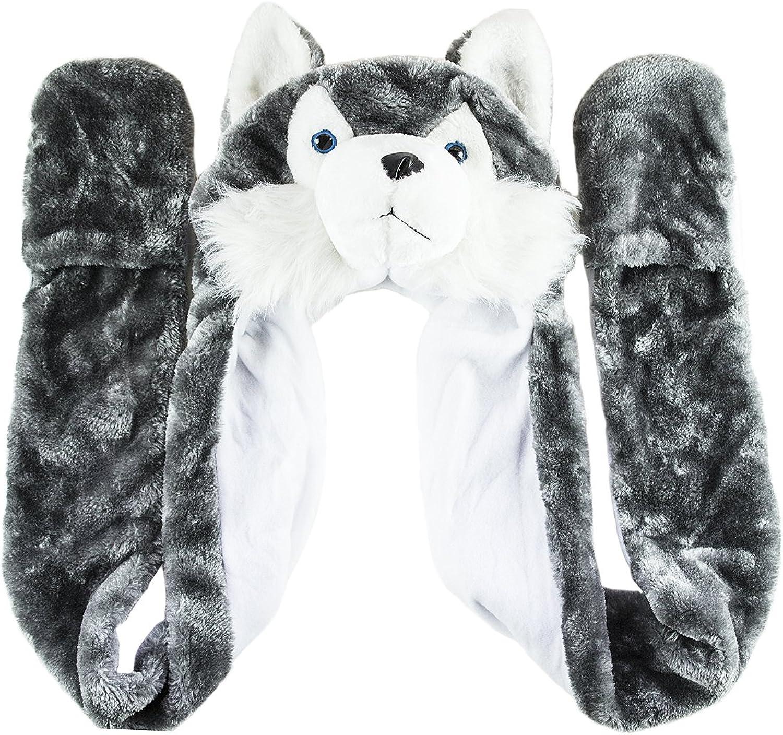 Husky Timber Wolf Cute Plush Animal Winter Hat Warm Winter Fashion (Long) (Gray): Clothing