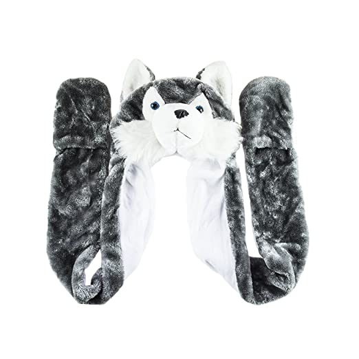 bfb2ee9d5f2 Husky Timber Wolf Cute Plush Animal Winter Hat Warm Winter Fashion (Long)  (Gray