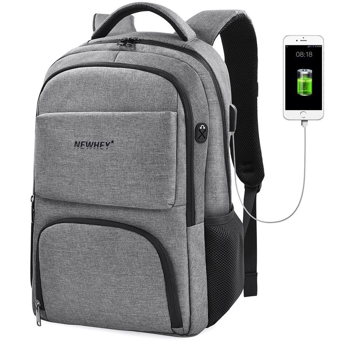 80%OFF Laptop Backpack Business Anti Theft Computer Bag Water Resistant School College Backpack USB Charging Port Lightweight Backpacks Fits Under 17 Inch Laptop for Men Women Grey