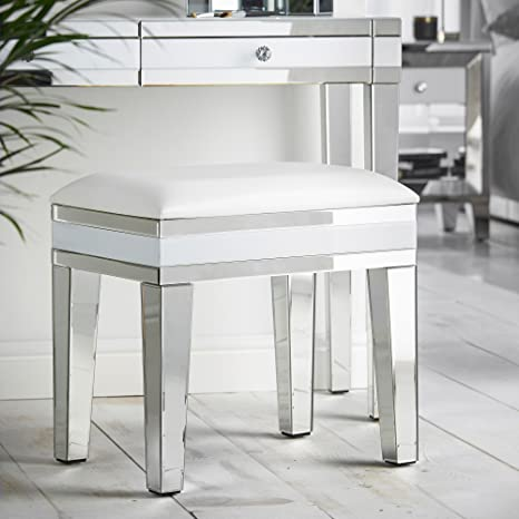 Beautify Mirrored Dressing Table Stool Chair White With Luxe Faux