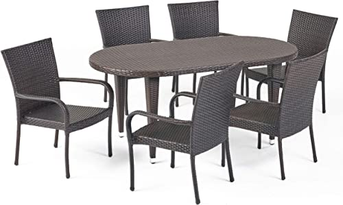 Christopher Knight Home Sophilynn | 7 Piece Outdoor Wicker Oval Dining Set