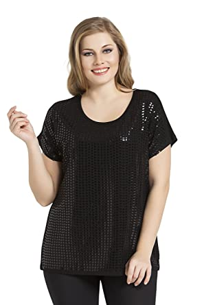 c51e375809 Tops & Plus Women's Plus Size Sequin Chic Top at Amazon Women's ...