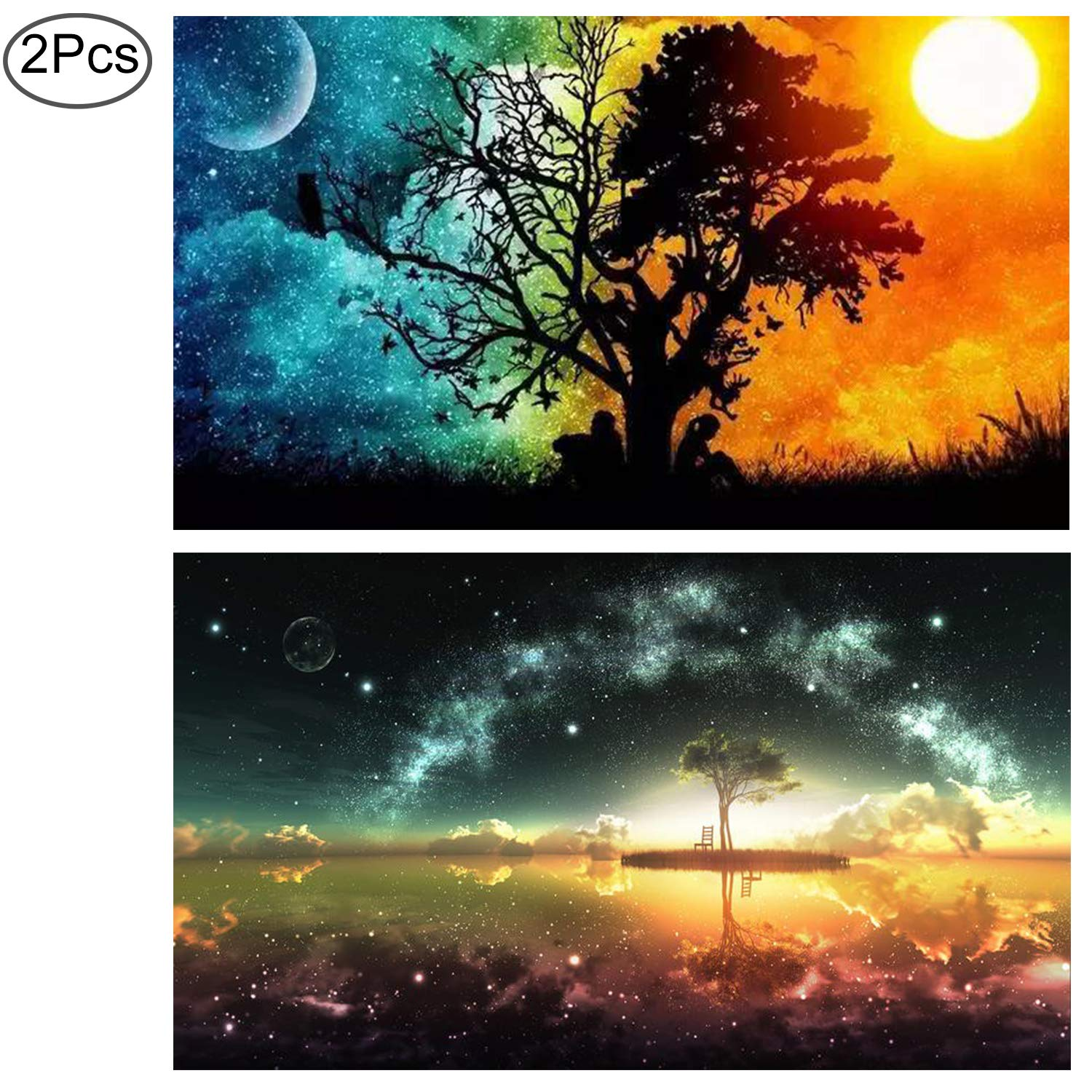 Standie 2 Pack 5D DIY Diamond Painting Set Full Round Drill Starry Cross Painting 5D Decorating Wall Stickers Decorating Cross Stitch Craft Painting Starry for Living Room ( 45 × 30 CM)