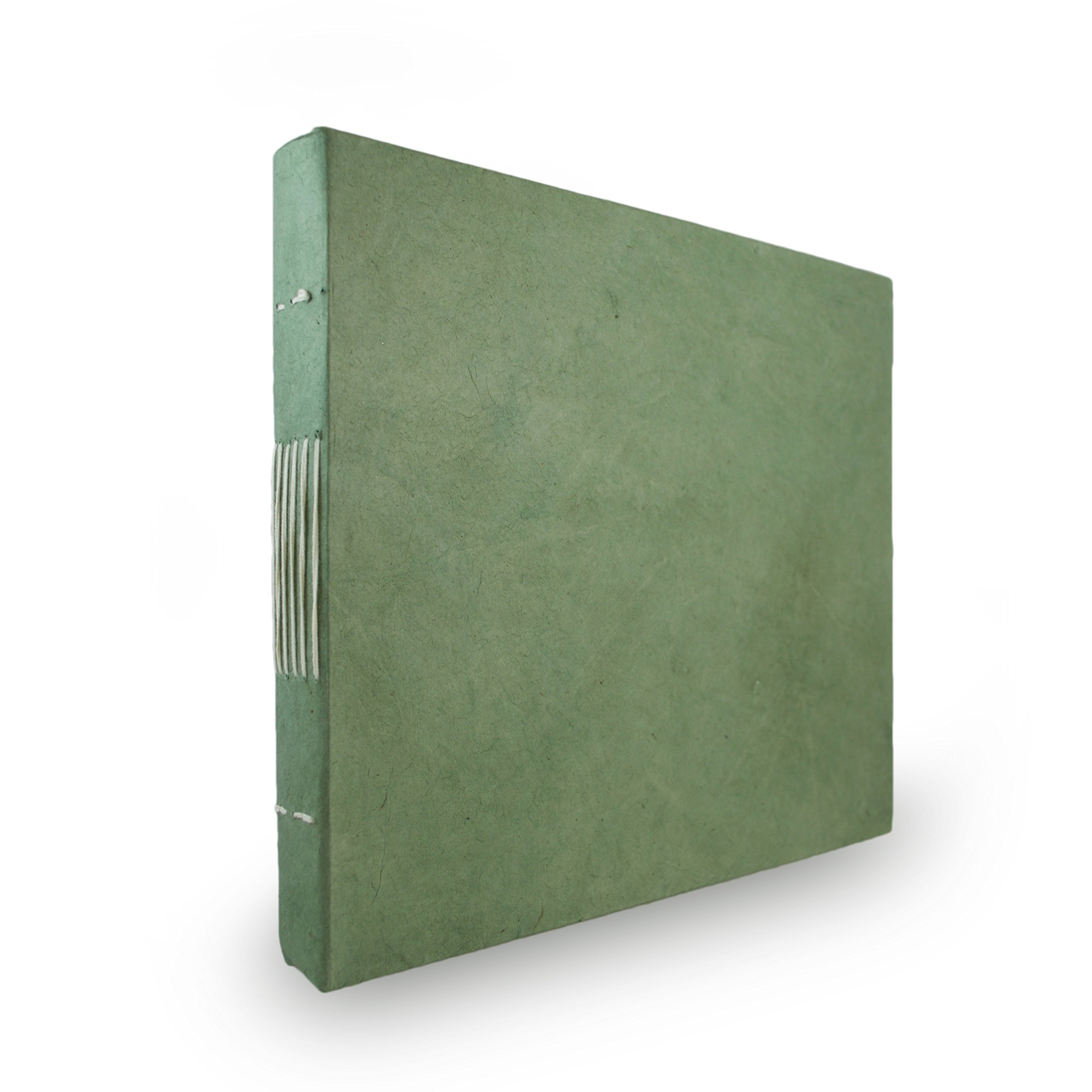 Nepali Keeper Journal with Handmade Lokta Paper. Made in Nepal. (10x9 Inches, Sage)