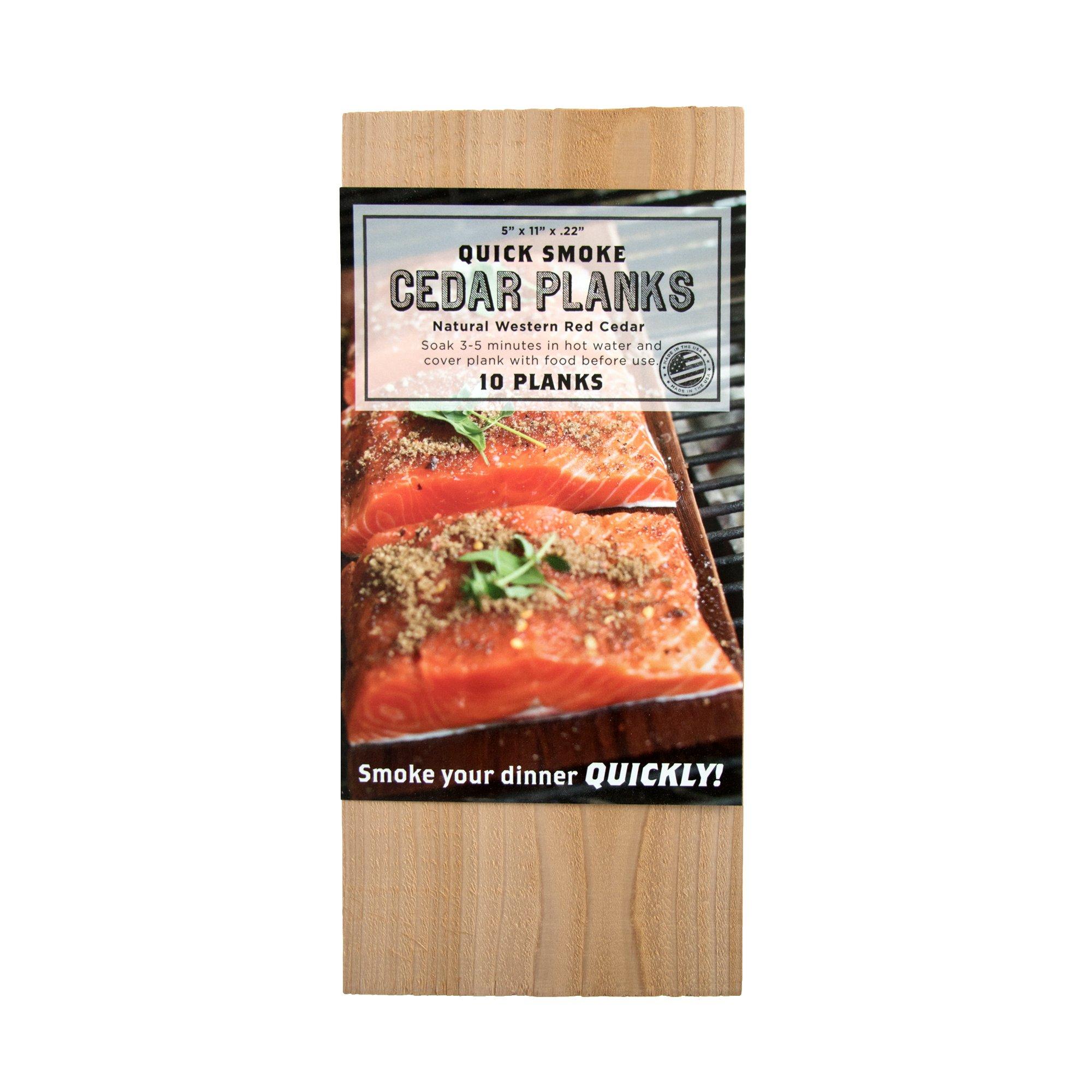 Quick Soak Cedar Grilling Planks - 5x11'' 10 Pack + Free Recipe eBook