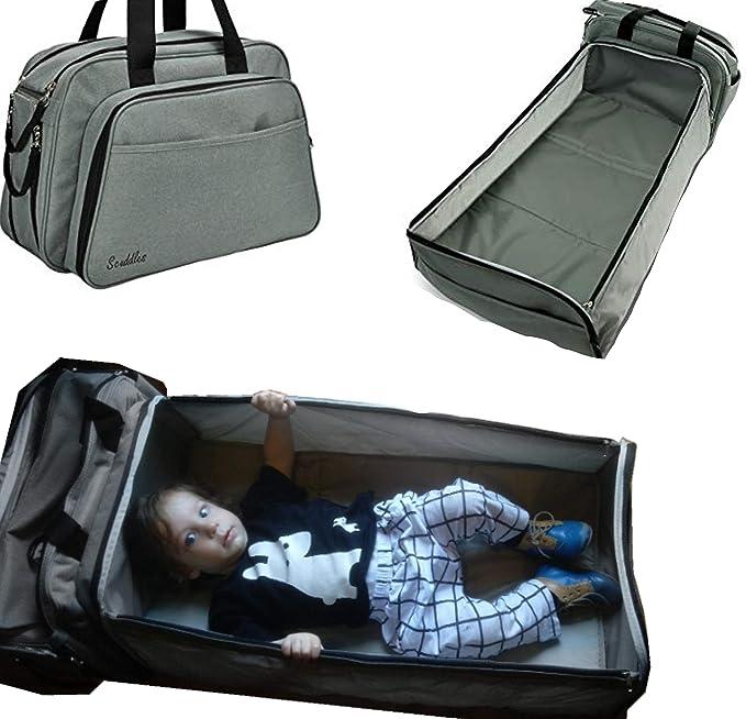Scuddles - portátil Cama Viajes Bolsa de Pañales para bebé Cama Cuna y Crib- W/Bolsillos Almohadilla de colchón para Dormir de bebé, luz Peso 3 in1: ...