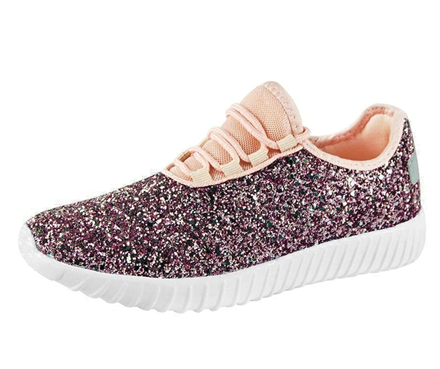 SF Forever Link Remy-18 Women's Jogger Sneaker-Lightweight Glitter Quilted Lace up Shoes New B079YF2ZWN 7 B(M) US|Pink-18