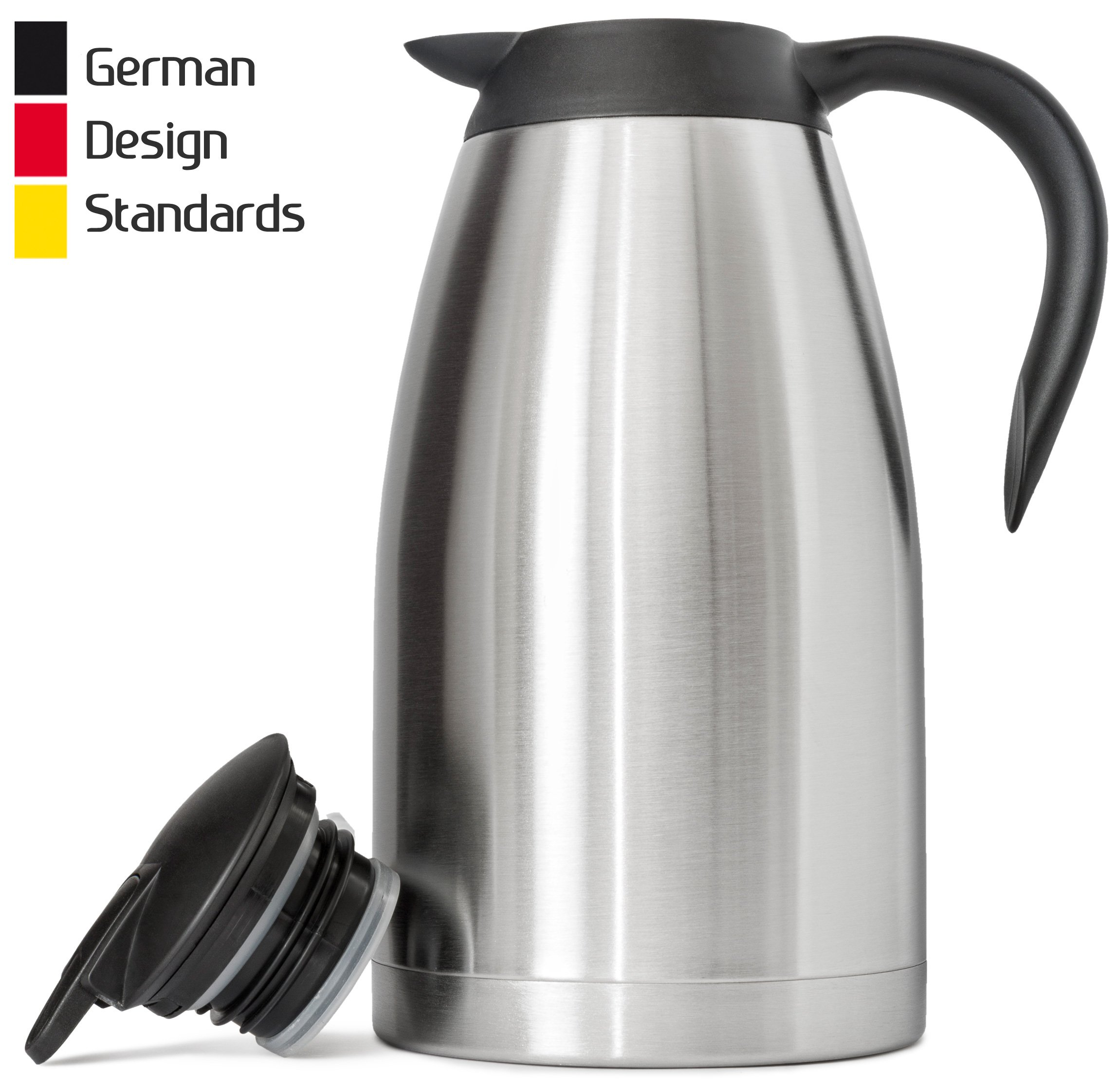 New 68 Oz (2 Liter) German-Designed Thermal Coffee Carafe | Stainless Steel Insulated Double Wall | BPA-Free Vacuum Thermos | Effectively Keeps Beverages Hot/Warm (up to 12 Hrs) or Cold (up to 24 Hrs)