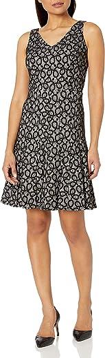 Nine West Women's Fit & Flare Scroll Lace V Neck Dress, IVORY/BLACK, 12