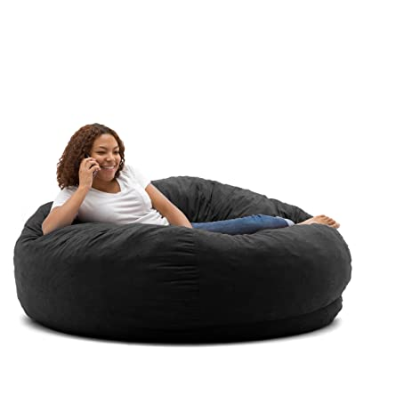 Big Joe King Fuf Foam Filled Bean Bag Chair Comfort Suede Black Onyx