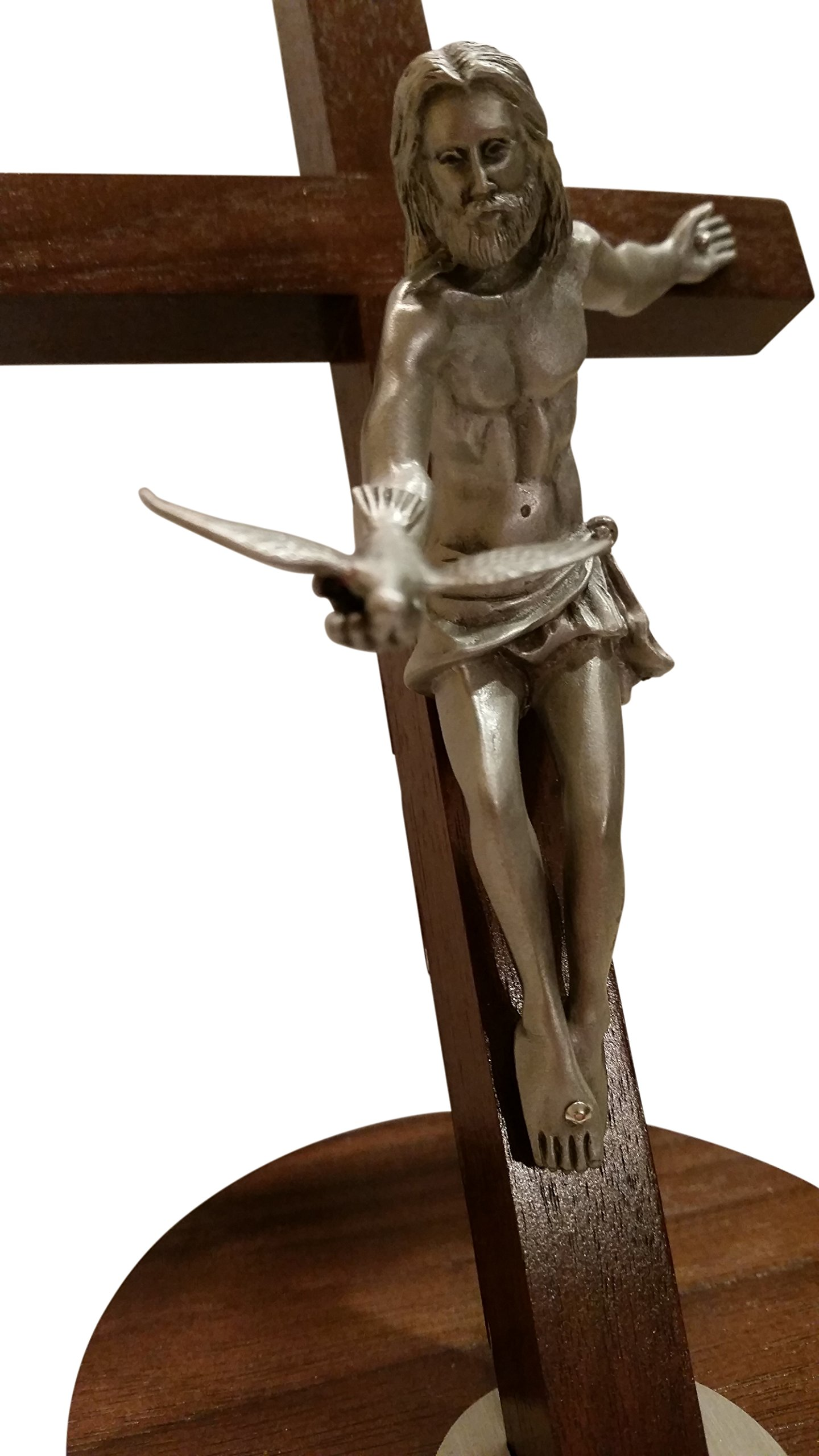 Inspire Nation Gift of the Spirit Walnut Wood Standing Wall Cross Crucifix with Removable Base for Hanging 8 inches by Inspire Nation (Image #5)