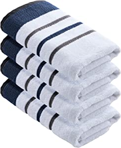 100% Turkish Cotton, Striped Hand Towel Set (16 x 30 inches) Oversized Decorative Luxury Hand Towels. Noelle Collection (Set of 4, Moroccan Blue / December Sky)