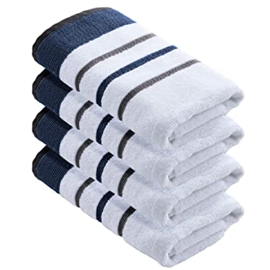 Great Bay Home 4-Pack Luxury Hotel/Spa 100% Turkish Cotton Striped Decorative Hand Towels, 500 GSM. Includes 4 Hand Towels. Noelle Collection Brand. (Hand Towels, Moroccan Blue/December Sky)