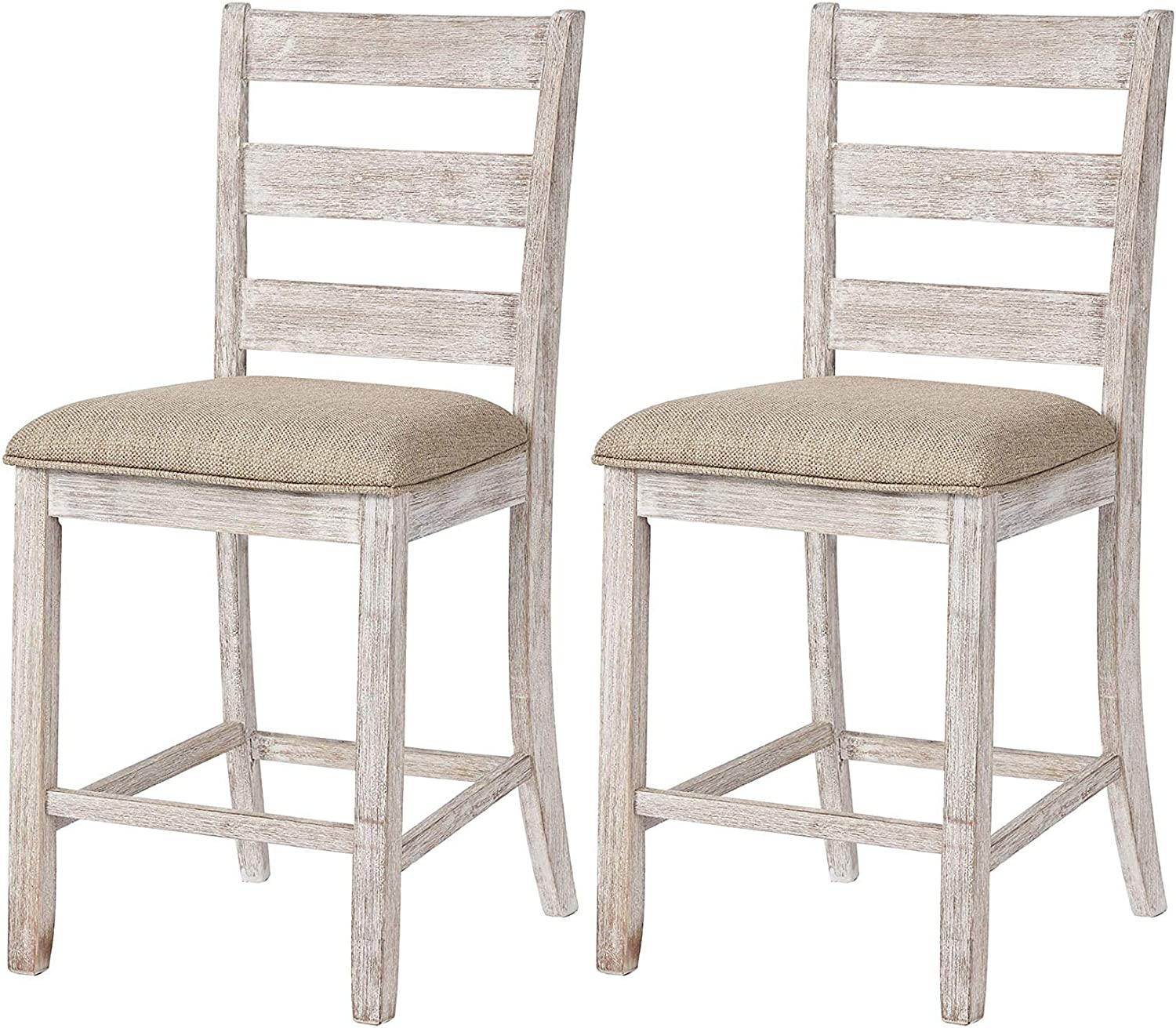 Signature Design By Ashley – Skempton Upholstered Barstool – Set of 2 – Casual Style – Two-tone
