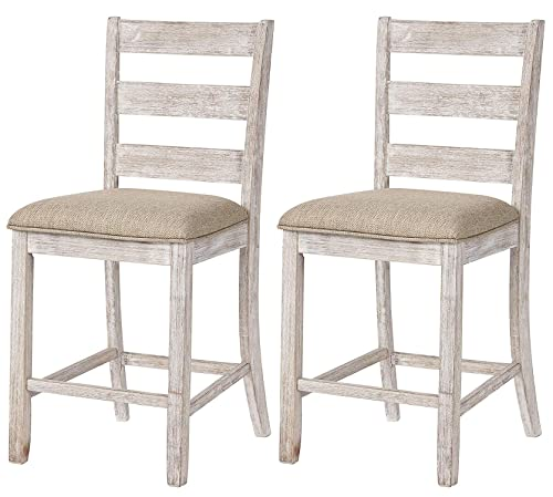 Signature Design By Ashley – Skempton Upholstered Barstool – Set of 2 – Ladder Back – Casual Style – Antique White