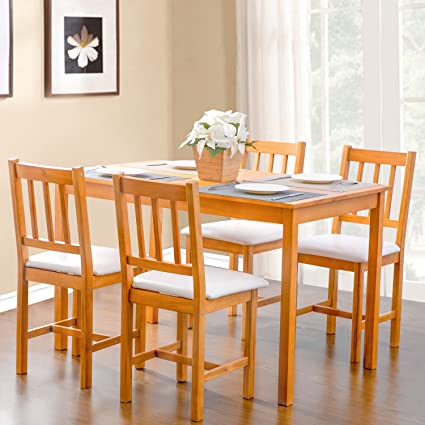 Merax 5 Piece Cream Dining Kitchen Dining Table With 4 Dining Chairs  Dinette Table (