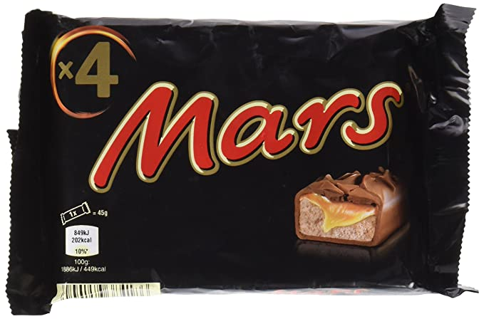 Mars barrita de chocolate, caramelo y leche malteada (multipack 4)(45grx4)