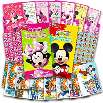 Disney Mickey Mouse And Minnie Mouse Valentines Day Cards Deluxe Set    68  Valentines And