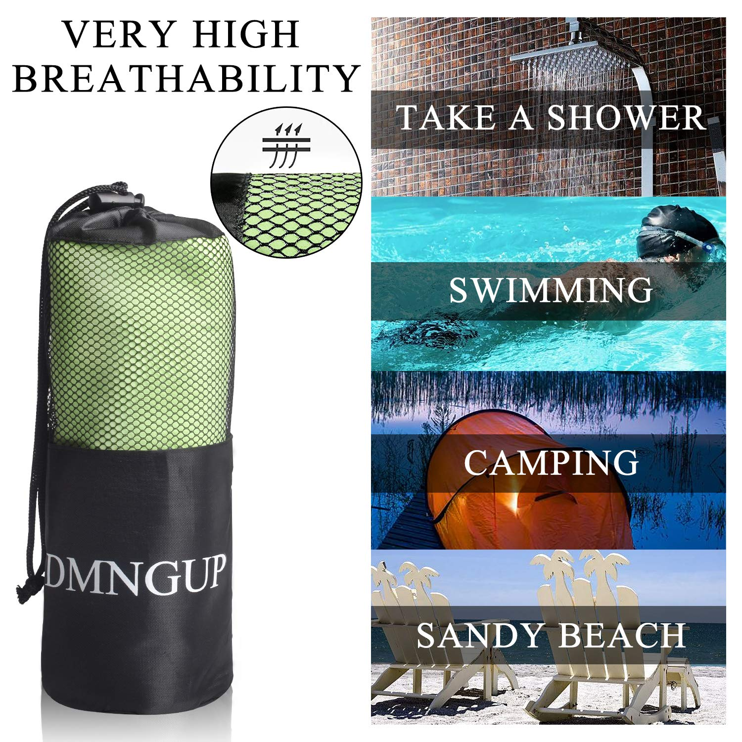 Microfiber Beach Towel Sports/&Travel Towels Fast Drying Super Absorbent Compact Lightweight Gym Towel Set for Camping//Hiking Swimming//Backpacking//Yoga Fitness CSWL