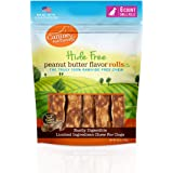 Canine Naturals Natural Peanut Butter Chew Rolls - 100% Rawhide Free and Collagen Free Dog Treats - Made with Real Peanut But