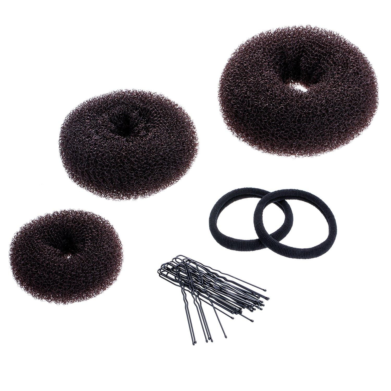 3 Pieces Donut Bun Maker Hair Bun Maker Ring Style Bun Maker Set for Chignon Hair Includes Large, Medium and Small (Blonde) Mudder