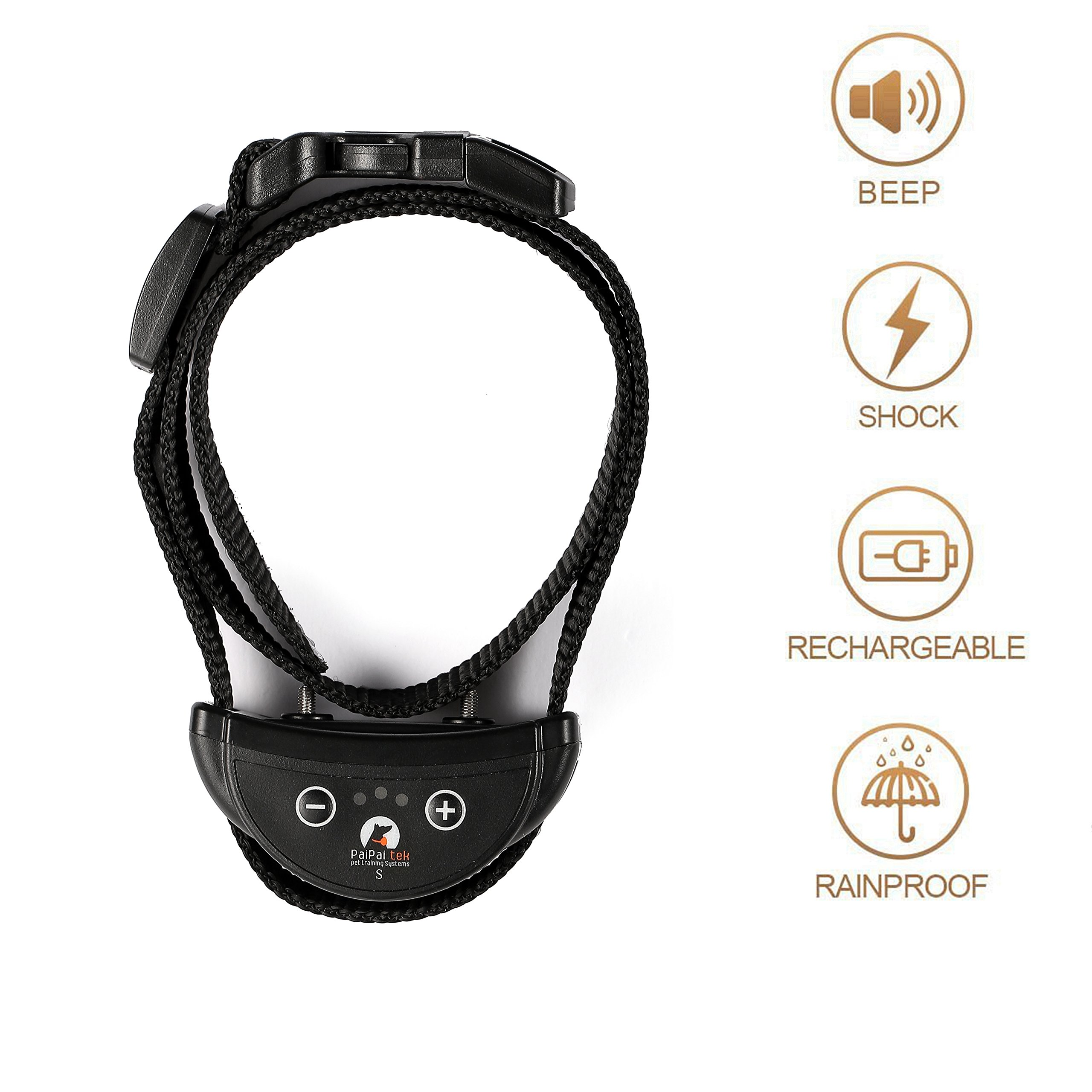 Paipaitek Pet Dog Training Collar Adjustable Sensitivity Levels, Rechargeable and Automatic Pet Dog Bark Stop Collar for Small Medium or Large Dogs (Small)