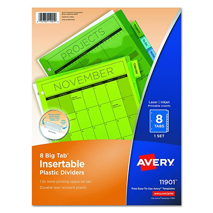 Amazon Avery Big Tab Insertable Plastic Dividers 8 Tab Set