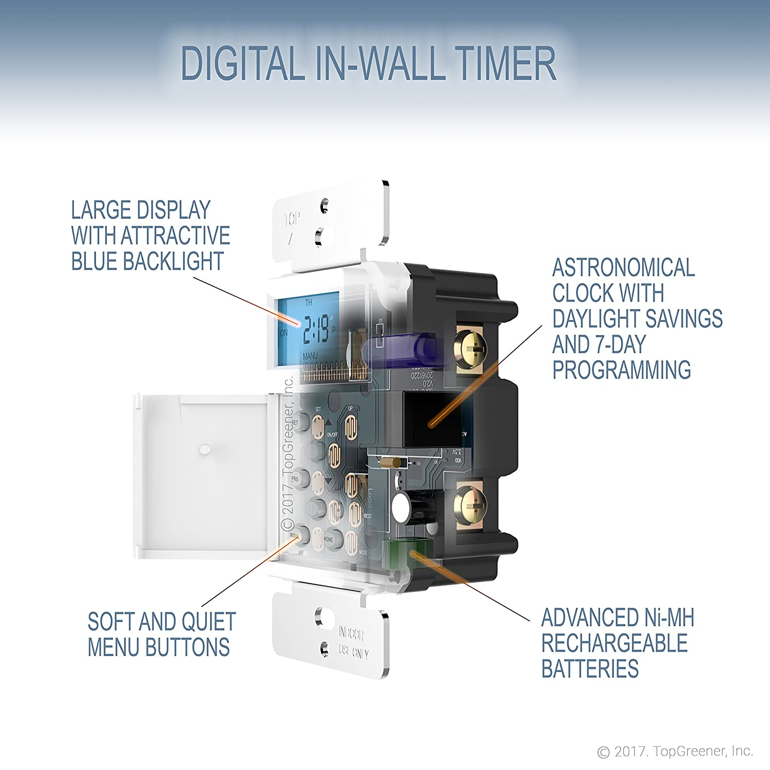 Topgreener Tgt01 H Digital Switch Astronomic In Wall 7 Day Intermatic Photocell Wiring Diagram With Timer Programmable Sunrise Sunset Solar Time Table Dusk To Dawn Neutral Wire Required