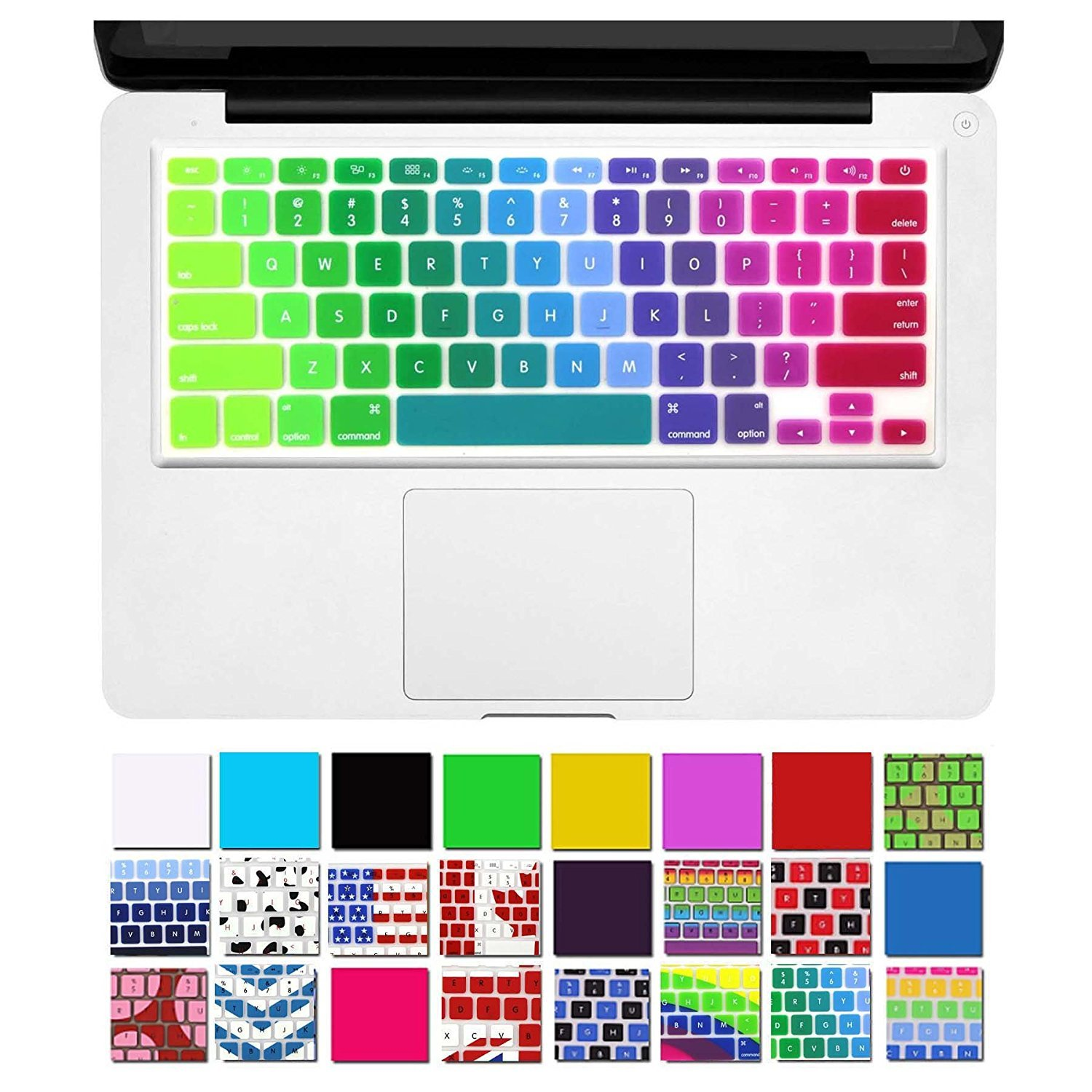 "Dhz Unique Ultra Thin Durable Keyboard Cover Silicone Skin For Mac Book Pro 13"" 15"" 17"" (With Or W/Out Retina Display) I Mac And Mac Book Air 13"" (Rainbow 5) by Dhz"