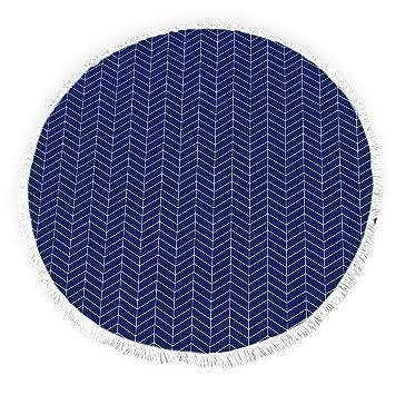 Yun Nist Toallas de playa redondas con borlas de espiga, diseño pacífico ideas flecos círculo grueso gitano alfombra de picnic yoga alfombra: Amazon.es: ...