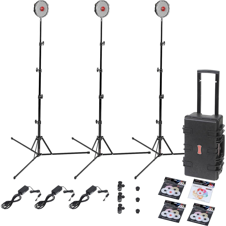 Kit Rotolight Neo Tres luz del Estudio con el Rodillo Duro Soportes y 360 Pro Monta Cabeza de la Bola