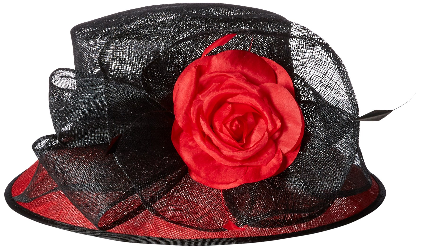 Scala Women's Two Tone Sinamay Hat With Flower, Black/Red, One Size