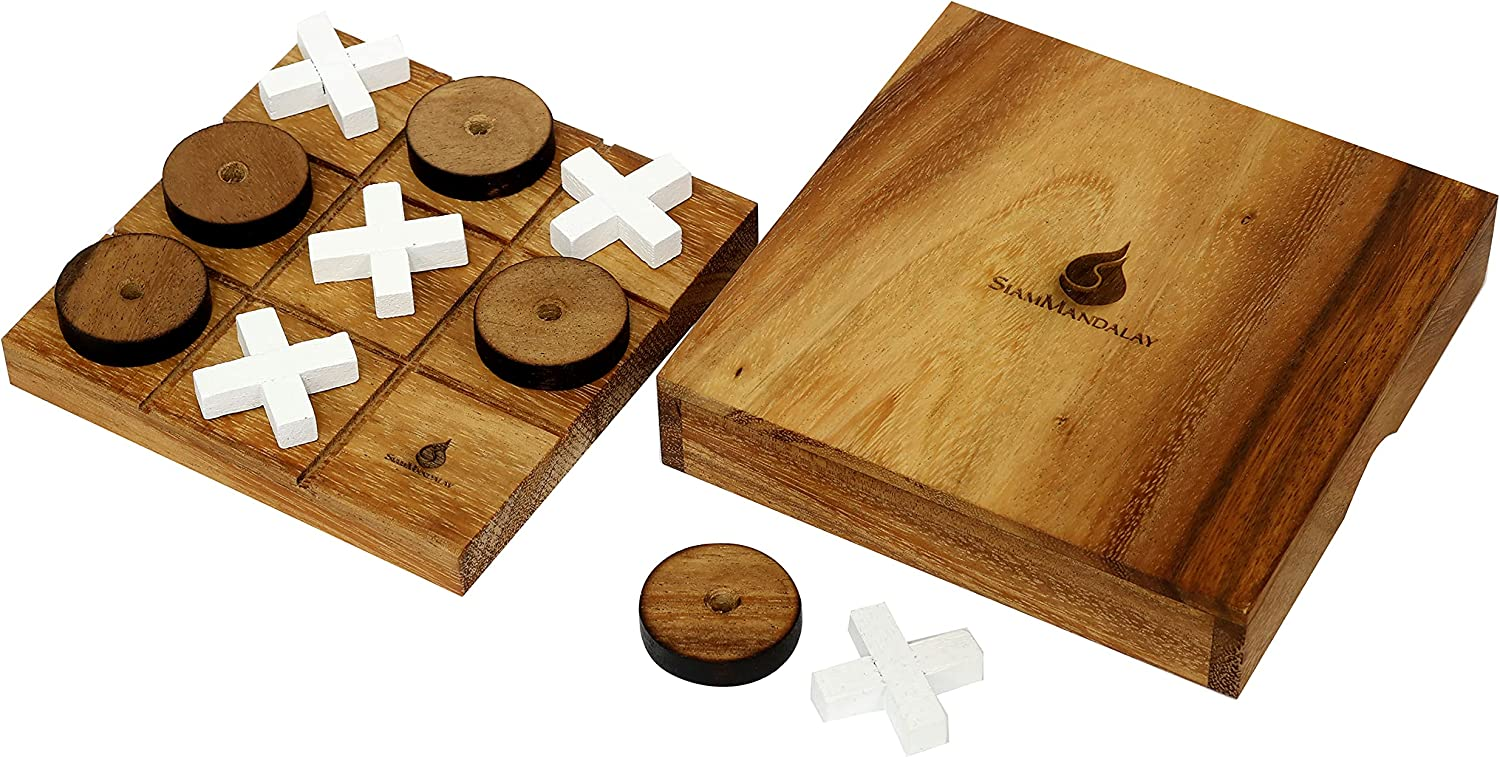 Campfire /& Marshmallows Wilcor Handmade Old Fashioned Wooden TIC-TAC-TOE Game