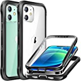 Luckymore Compatible with iPhone 12 Mini Case 5.4 inch, Full-Body Rugged with Built-in Screen Protector, Black