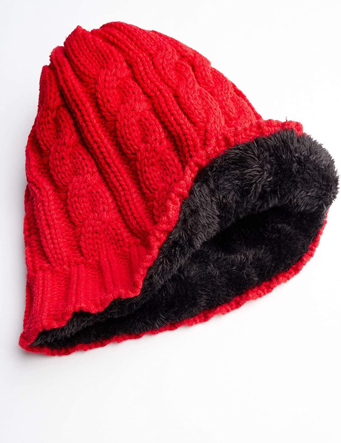 Size 7-16 CANADA WEATHER GEAR Girls Faux Fur Lined Cable Knit Beanie Hat
