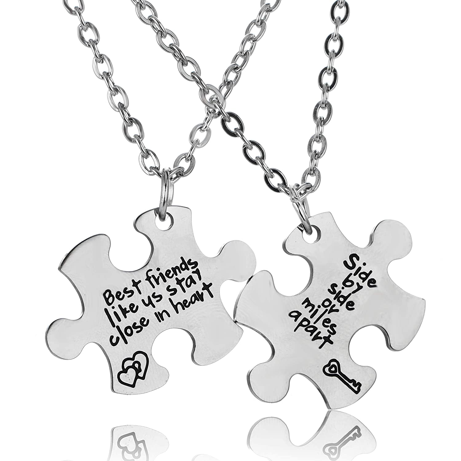 Best Friends Jewelry Gift for Sisters Necklace Set YeeQin 3PCS We Will Always Be Connected Keychain Set