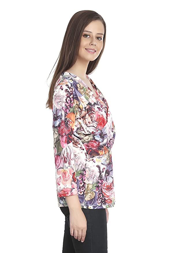 06fe63c177 INSPIRE WORLD Women s Top with Deep Neck in Polyester Rose Mix Multi Color  Print - Imported Fabric with 100% Pure Cotton Slub Inner - Digital Floral  Print ...