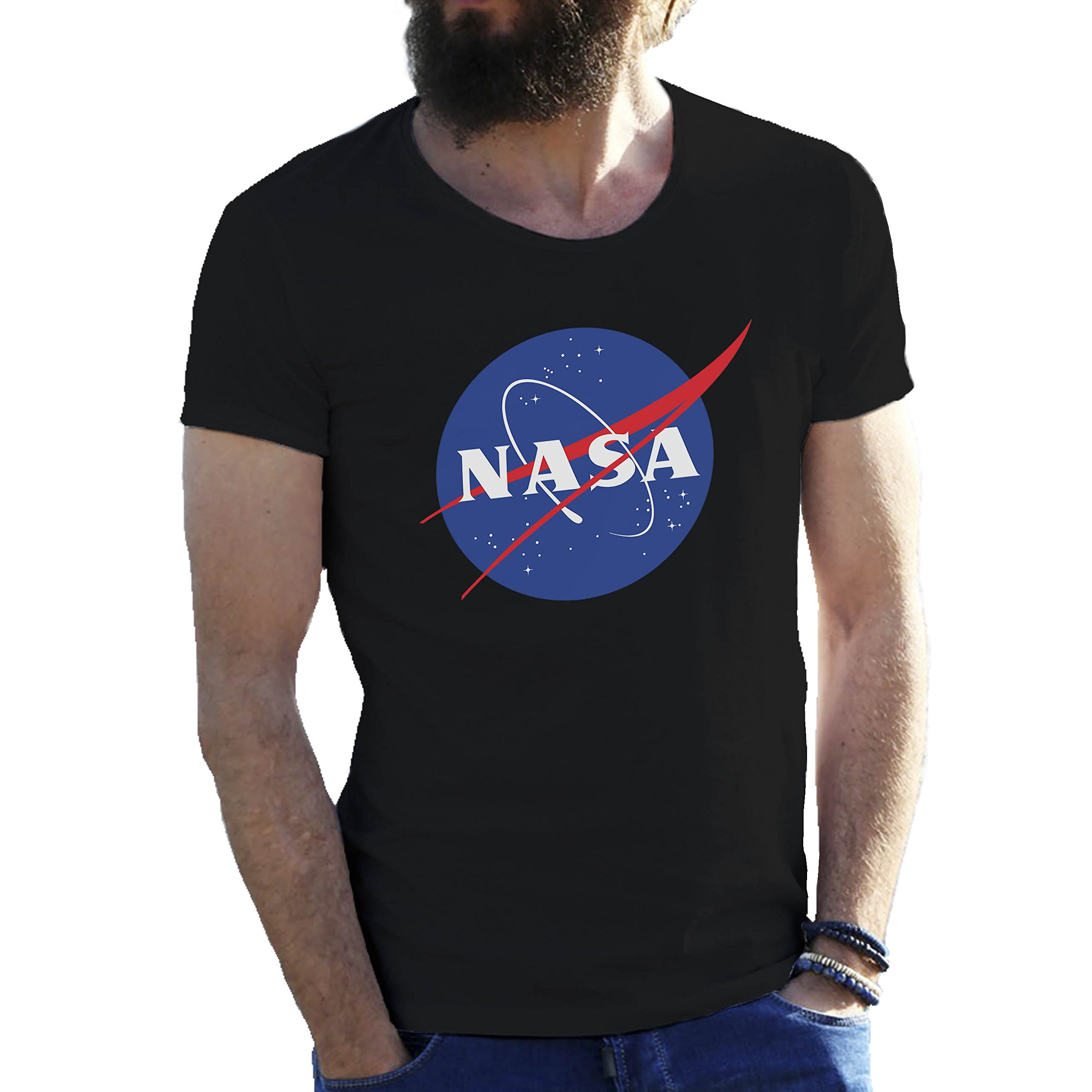 NASA Space Astronaut Logo Retro Scientist Meatball Geek Big Bang Theory Gift Black Mens T-Shirt in Extra Large Sizes 5X Large