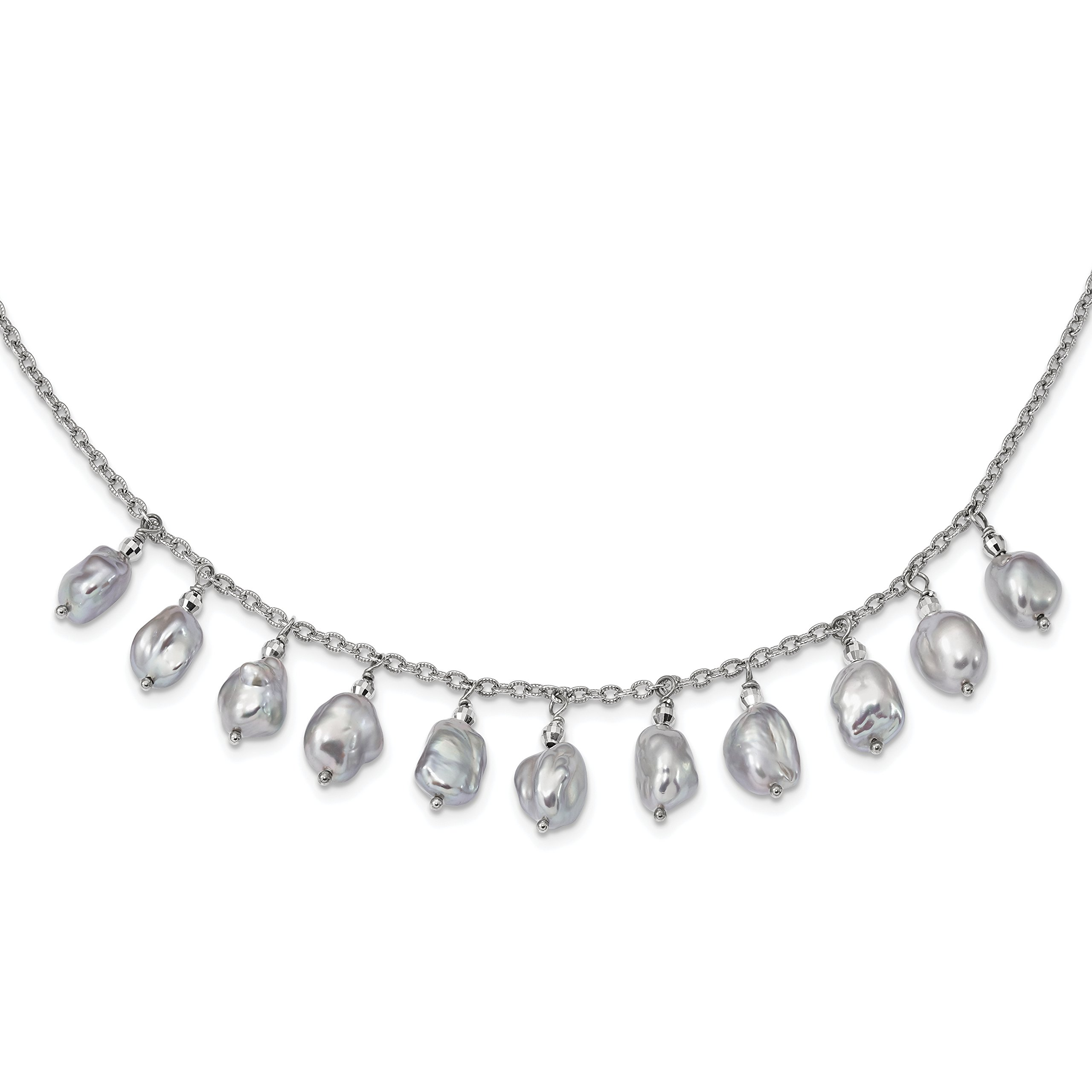 ICE CARATS 925 Sterling Silver Plate 7 9mm Grey Baroque Freshwater Cultured Pearl 2 Inch Extension Necklac Fine Jewelry Gift For Women Heart by ICE CARATS (Image #1)